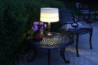 Hit up Goodwill and the hardware store to make this lamp for a deck or poolside patio in minutes. #craft #lamp #solar