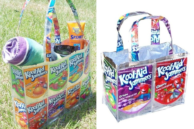 Juice pouch craft:  Large tote bag & small bag