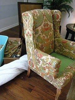 Reupholstering a wingback chair: Chairs Reupholsteri, Chairs Re Upholstery, Wing Chairs, Wings Chairs Diy, Redo Chairs, Chairs Tutorials, Re Upholstery Tutorials, Wingback Chairs, Diy Projects