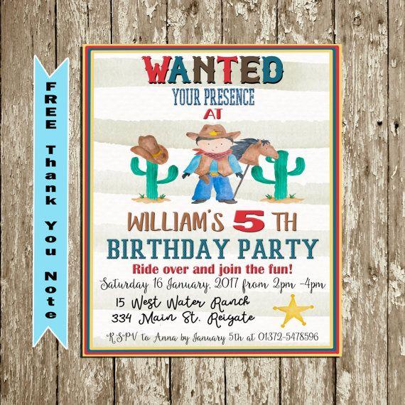 Cowboy birthday invitation Cowboy invitation by DorindaArt on Etsy