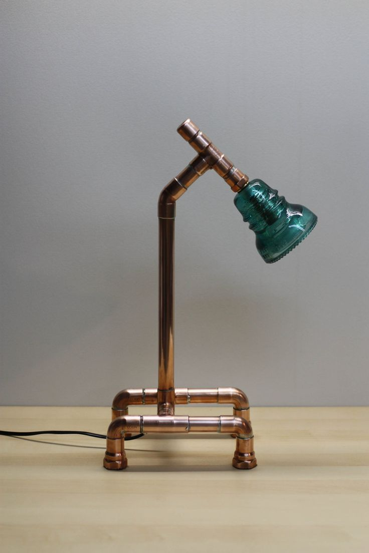 Industrial Design Copper Pipe Lamp with Antique Glass Electrical Insulator