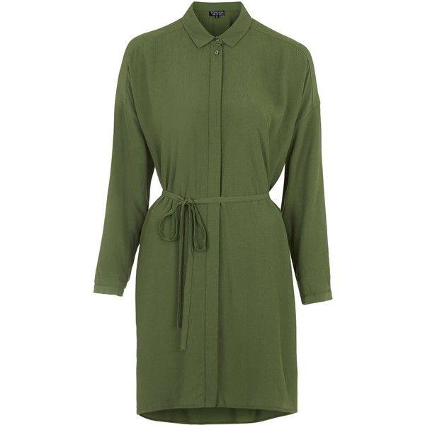 TOPSHOP Self-Tie Shirt Dress ($68) ❤ liked on Polyvore featuring dresses, khaki, henley shirt dress, rayon dress, green day dress, topshop e game day dresses