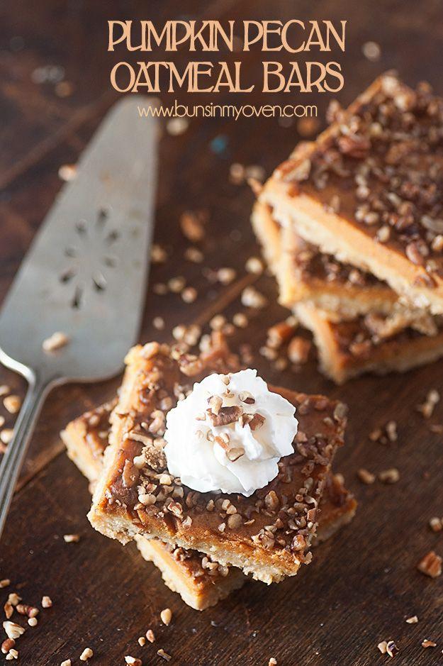 Pumpkin Pecan Oatmeal Bars recipe - perfect fall recipe