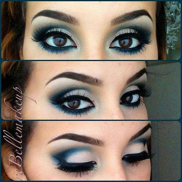 Blue smokey eye | Pretty Brown Eyes | Pinterest | Blue ...  Blue smokey eye...
