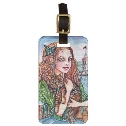 Cat Lady by the Dock Luggage Tag  $11.60  by patriciastudio  - cyo diy customize personalize unique