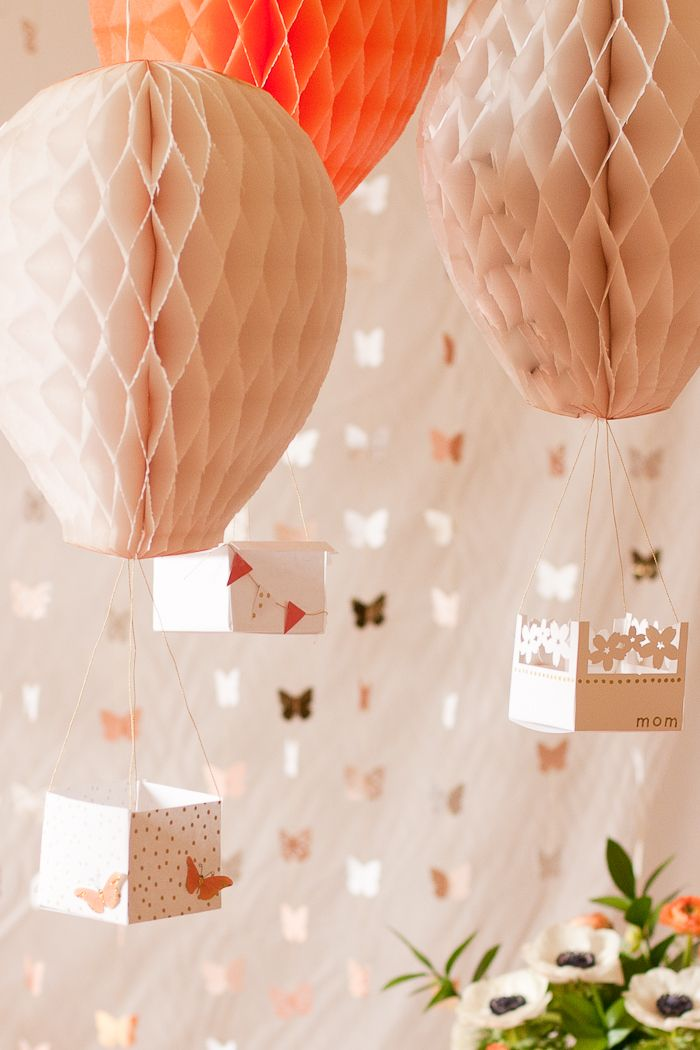 These hot air balloons are so sweet and unique. The tutorial used them as decor for a 'flights of fancy' Mother's Day brunch. We think they would also be great for a girl's birthday party or baby shower. They could even be kept as a permanent decoration for a baby's nursery.