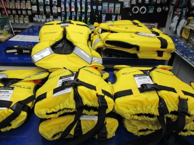 Need a life jacket ? We have a new range in store with great prices. A child Xtra small is only $29.99 ranging in sizes and prices up to $55.00 for a Adult Xtra Large.