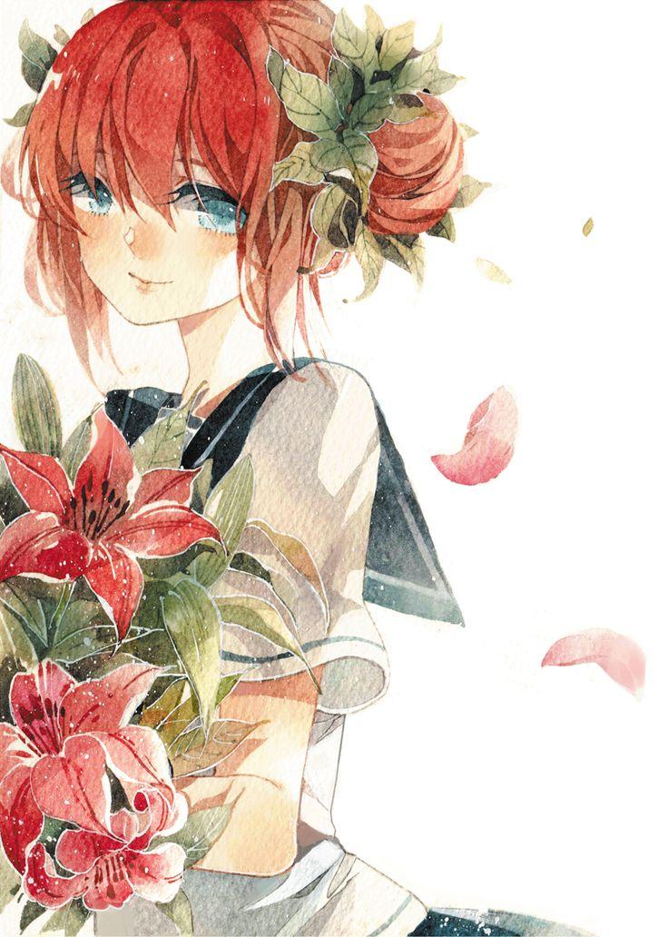 girl holding flowers Anime and manga Pinterest Red