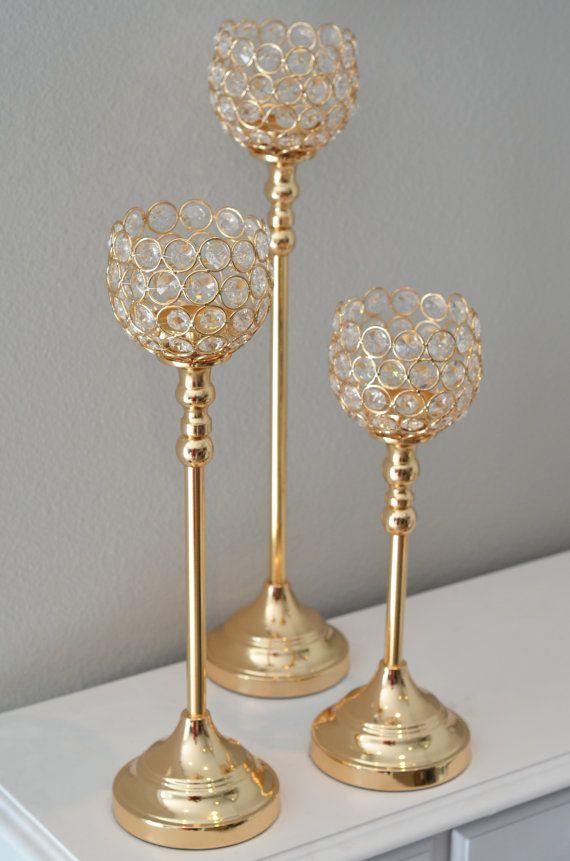 Set of gold bling candle holders rhinestone flower