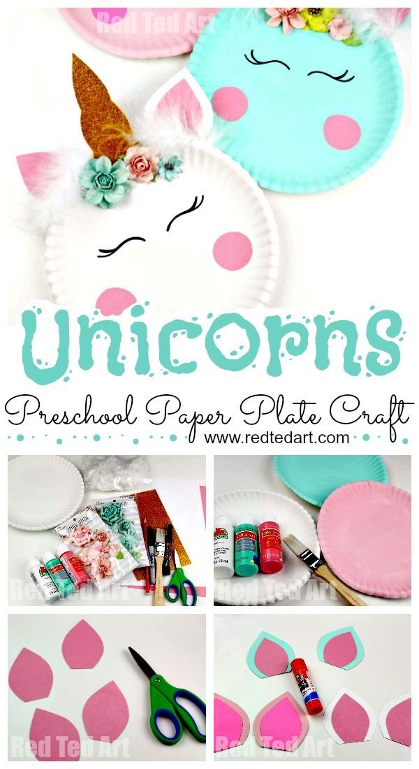 Paper Plate Unicorn Craft For Preschool Red Ted Art Make Crafting With Kids Easy Fun Easy Crafts For Kids Arts And Crafts For Kids Kindergarten Crafts