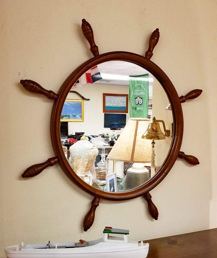 Vintage Maple Yacht Wheel Nautical Wall Mirror in 2020 ...
