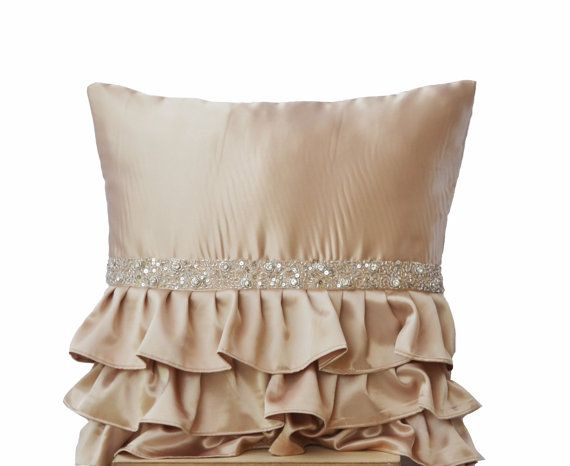Beige ruffled sequin pillow  16X16  Decorative by AmoreBeaute, $29.99