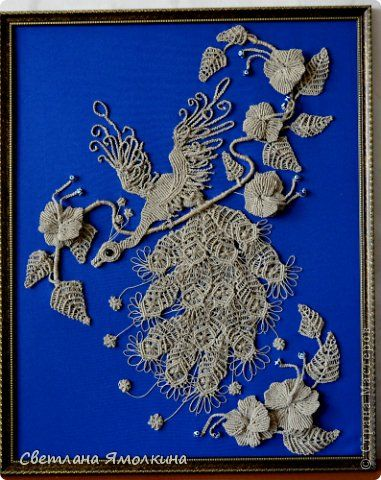 Картина панно рисунок Макраме Птичка в саду Бусины Нитки ...