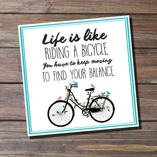 Note Card - Life is a Bicycle - Greeting Card by Thingsforasmile on Etsy