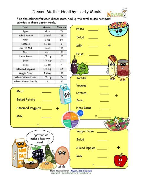 Math and computation worksheet for elementary school children using a series of common dinner meals.