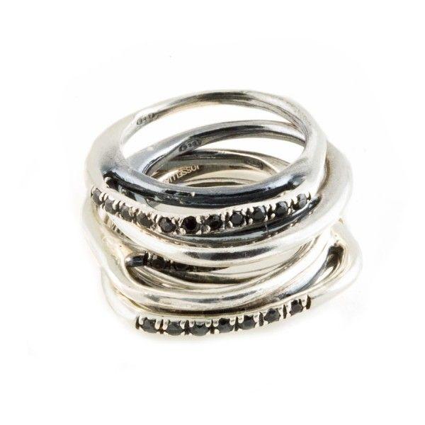 Set di anelli in argento Iconic: set di 5 anelli in argento