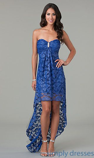 High Low Strapless Sweetheart Lace Dress at SimplyDresses.com - diy idea