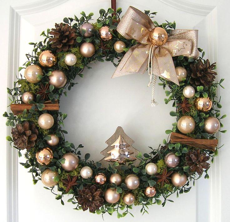 t rkranz weihnachten weihnachtskranz gold 33cm wandkranz. Black Bedroom Furniture Sets. Home Design Ideas