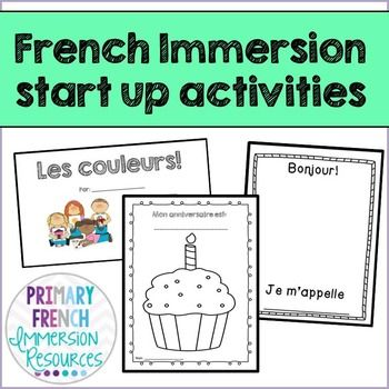 French Immersion start up activities Can be used for grade 1 (introduction) or grade 2 (review). - Bonjour, je m'appelle ____. Students can write their name and draw themselves. Can be used as a get to know you activity. Can review vocabulary for grade 2 (body parts, clothing, colours)- Mon anniversaire est ______.