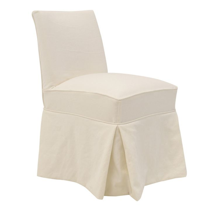 Slipcovered White Dining Chair