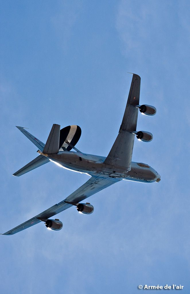 """French Armée de l'Air Boeing E-3 Sentry AWACS, during training flights at the French defence """"Summer University"""" 2013."""