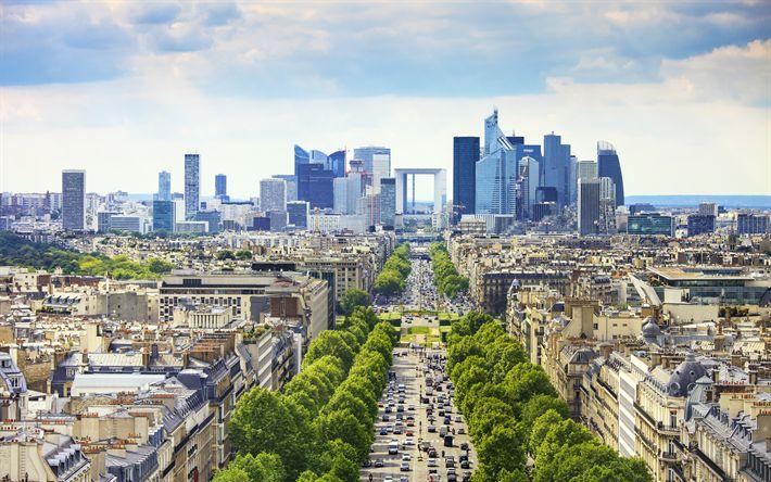 Download wallpapers La Defense, 4k, business district, summer, Quatre Temps, Paris, France, Europe