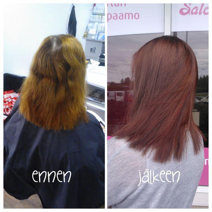 Before and after photos of beautiful chocolate-copper haircolour. Hair by Emmi/Parturi-kampaamo Salon Maria Seinäjoki