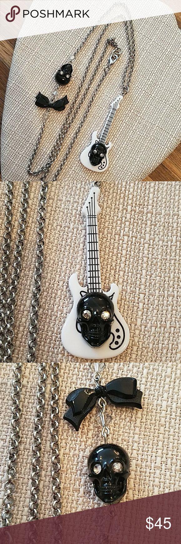 TARINA TARANTINO NECKLACE TARINA TARANTINO NECKLACE. Gothic Guitar and Skull Necklace.  EUC. Tarina Tarantino Jewelry Necklaces