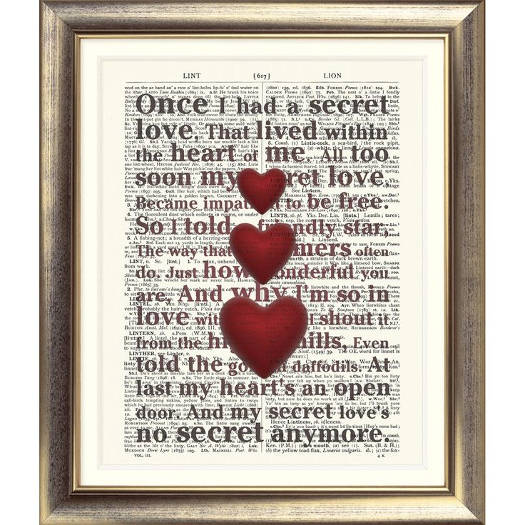 ART PRINT ON ORIGINAL ANTIQUE BOOK PAGE Dictionary Hearts love Shabby Chic Retro in Home, Furniture & DIY, Home Decor, Wall Hangings   eBay