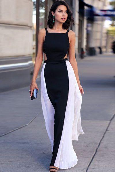 Robe De Soiree elegante Manches Side Plisse Robe Pas Cher www.modebuy.com @Modebuy #Modebuy #Noir #me #dress #sexy