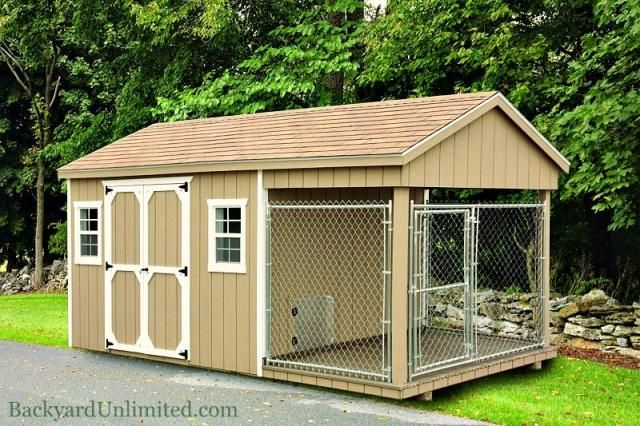 8'x18' Shed Dog Kennel Combination with 6'x8' Run, 4'x8' Box, and 8'x8' Shed http://www.backyardunlimited.com/dog-kennels