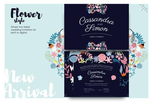 Flowery &Modern Wedding Invitation by Laffmate on Creative Market