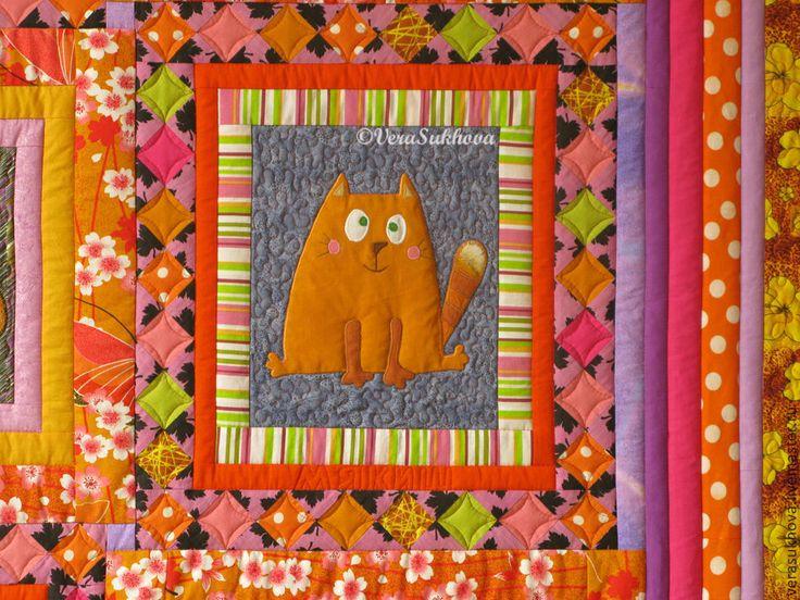 Купить Лоскутное одеяло МАРУСИНЫ КОТИШКИ - одеяло пэчворк, покрывало, покрывало пэчворк, покрывало на кровать