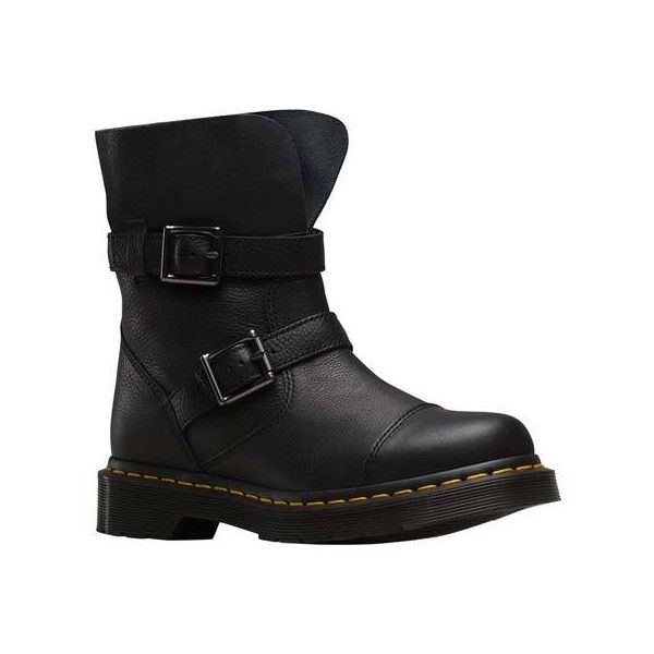 Women's Dr. Martens Kristy 2 Strap Slouch Rigger Boot Casual ($155) ❤ liked on Polyvore featuring shoes, boots, casual, leather boots, buckle boots, long leather boots, slouchy moto boots, motorcycle boots and leather biker boots