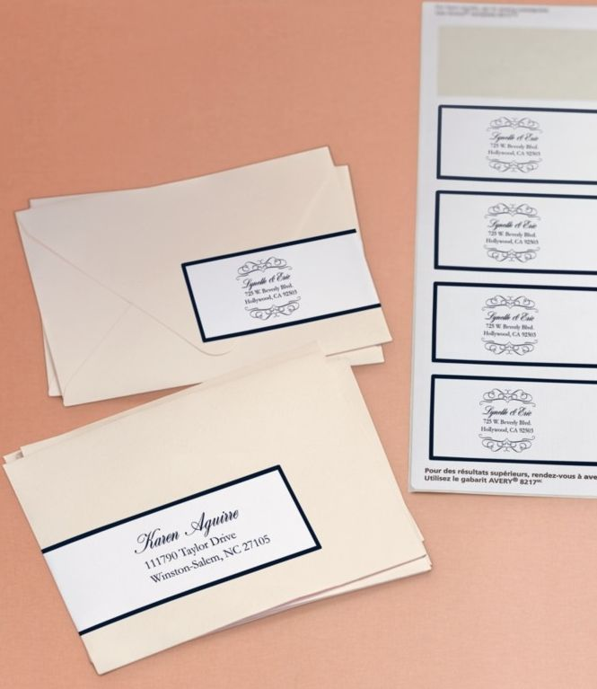 Here's  an beautiful way to address your wedding invitations. Using an Avery Wraparound Label and free templates and designs, you can customize it to your wedding theme and put the addressee and return address on one label. Simple and elegant!