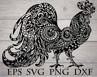 Zentangle Rooster Svg Mandala Rooster Svg Intricate
