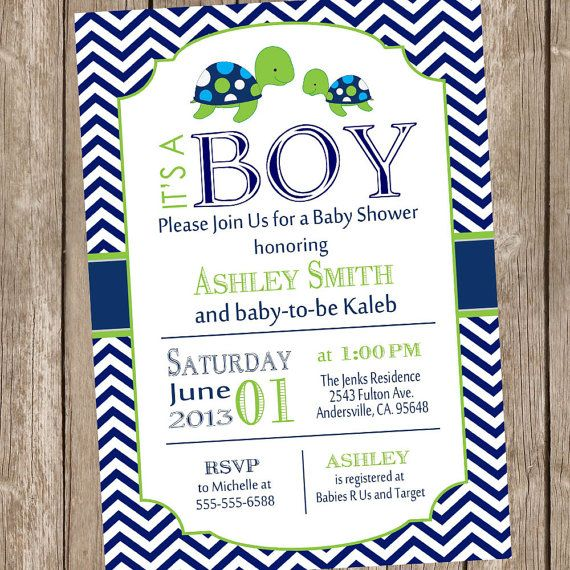 Sea Turtle Baby Shower Invitation Navy and Lime by ModernBeautiful
