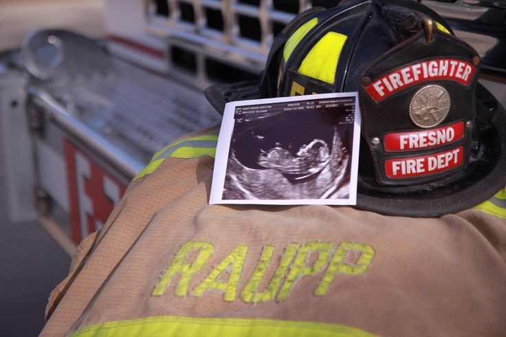 Firefighter baby announcement