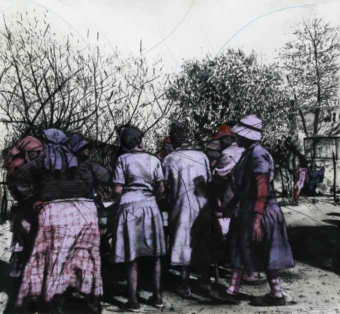 An original #drawing by #PhillemonHlungwani entitled: Ntwanano i Matimba (Unity is Power), #charcoal and #pastel on paper, 140 x 152cm #SouthAfricanArtist #KKNK #KKNKFESTIVAL   For more please visit www.finearts.co.za