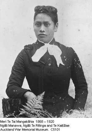 Meri Te Tai Mangakāhia. 1868 Ngati Manawa,Ngati Te Reinga and Te Kaitutae