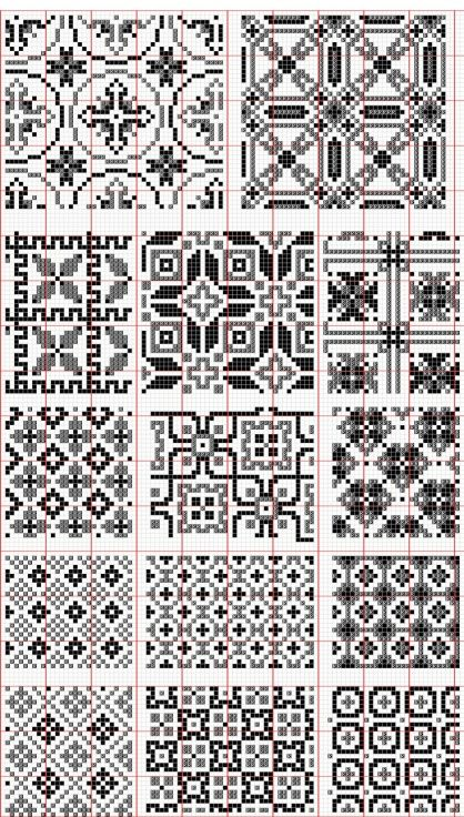 Dažādi raksti rūtiņu tehnikā - Rokdarbu grāmatas un dažādas shēmas