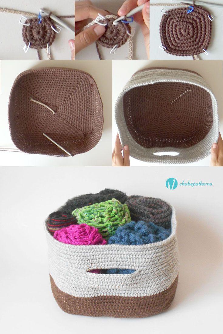 Bicolor basket, free pattern, video tutorial, written instructions/ Canasta bicolor, patrón gratis, video tutorial, instrucciones escritas