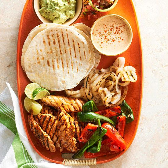 Get grilling! These Grilled Chicken-Finger Fajitas with Peppers and Onions are full of south-of-the-border flavor. More of our best grilling recipes: http://www.bhg.com/recipes/grilling/best-grilling-recipes/?socsrc=bhgpin061413fajitas