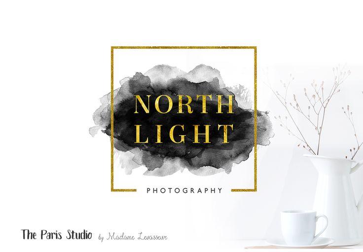 Modern Geometric Gold Foil Watercolor Logo Design for photography branding, restaurant logo, boutique branding, e-commerce website logo, blog logo, creative business branding or small business logo.