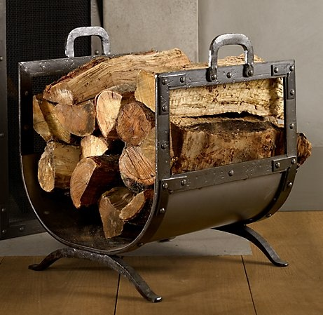 Wood holder from Restoration Hardware. I would probably use for extra blankets - folded and rolled like logs.
