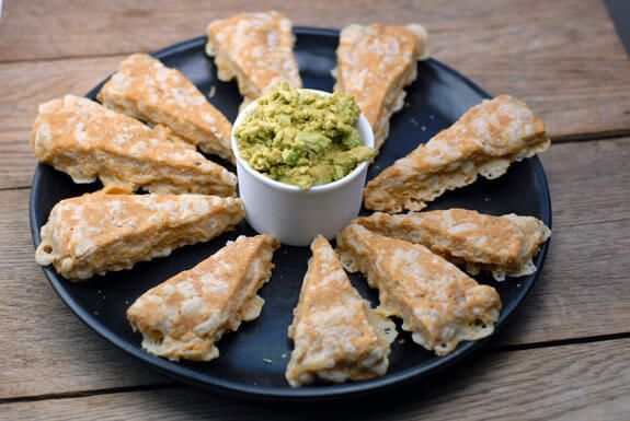 High-protein Nacho Cheese Triangles made with just 7 ingredients are an easy savory scones recipe, and the perfect gluten-free snack!