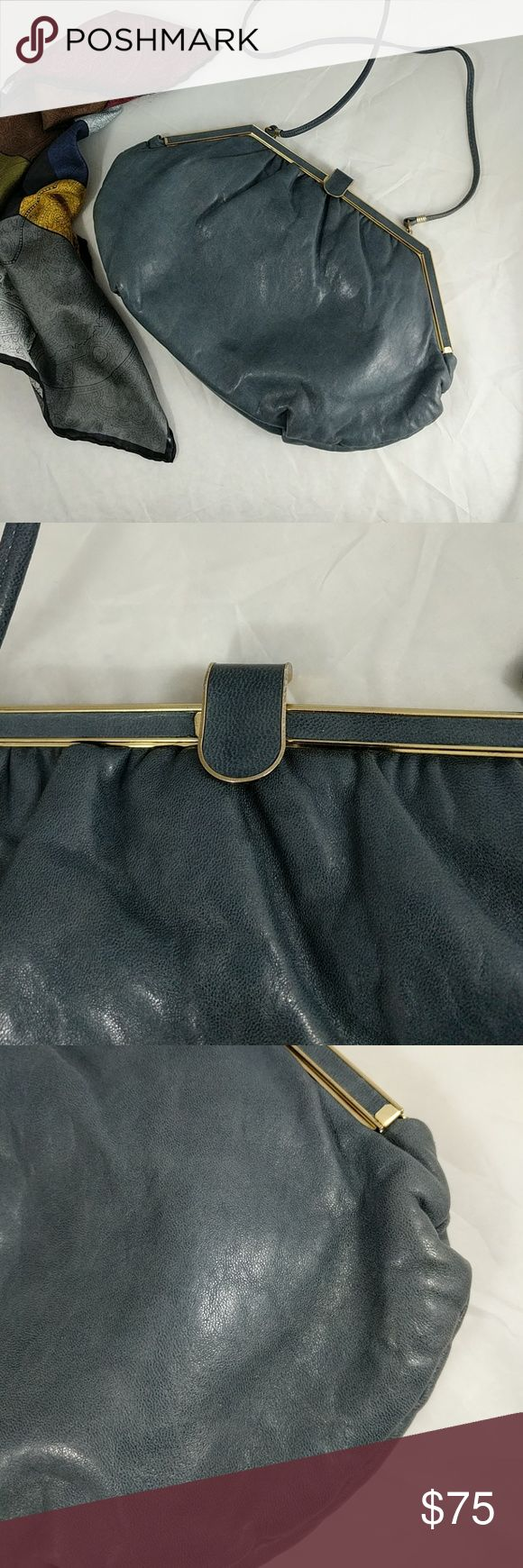 """Vintage Margolin steel grey leather shoulder bag 14"""" across at the longest; 6"""" top to bottom; 2"""" across the width of the bottom.  From top of purse to shoulder strap 17.5"""" Comes with a free silk handkerchief, made in Italy. Margolin Bags Shoulder Bags"""