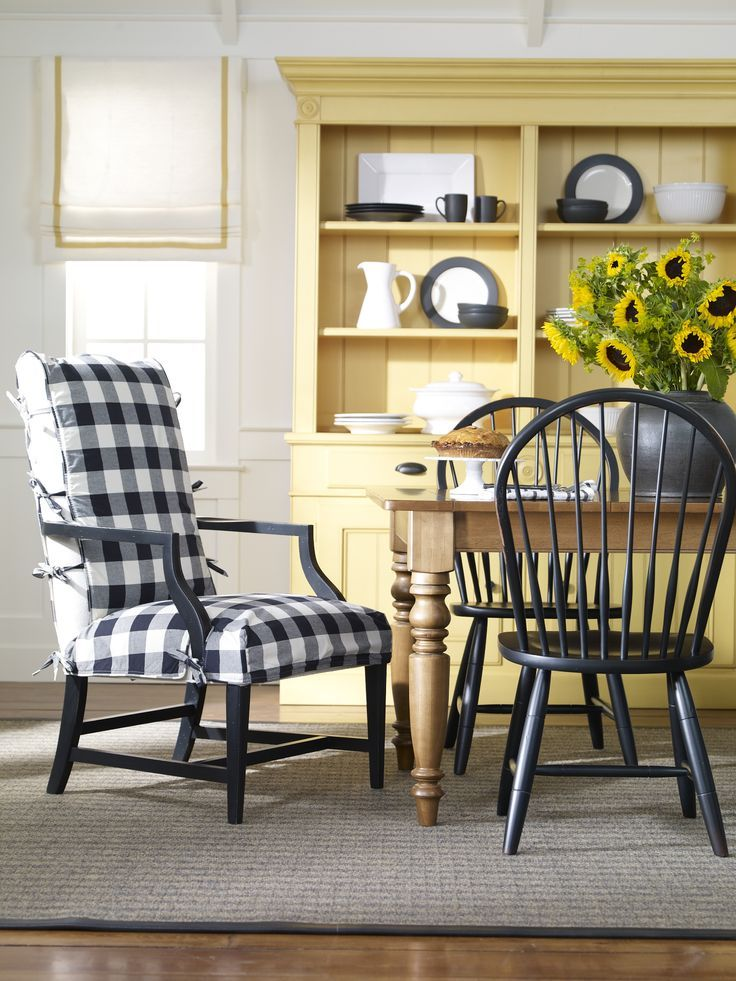 Dining Room With Sunflower Yellow Hutch And Buffalo Plaid Upholstered Chair Black White Check Fabric