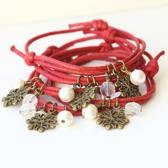 Pulseira da amizade c/ berloques cristais de neve, pérolas swarovski, conta vidro facetado-  Bronze Christmas Friendship by Poppy Sparkles