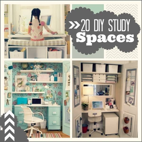 "20 Do it Yourself Study Spaces. Get a jump on creating a workspace for your kiddo. Great ""cloffice"" and nook workstation ideas."